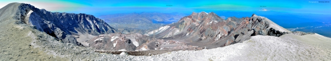 st helens panorama crater ridge rim fumes monitor spirit lake mt rainier mt adams volcano washington ash view hike postcard