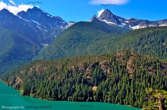 colonial peak pyramid peak diablo lake ross lake north cascades national park washington glacial lake postcard