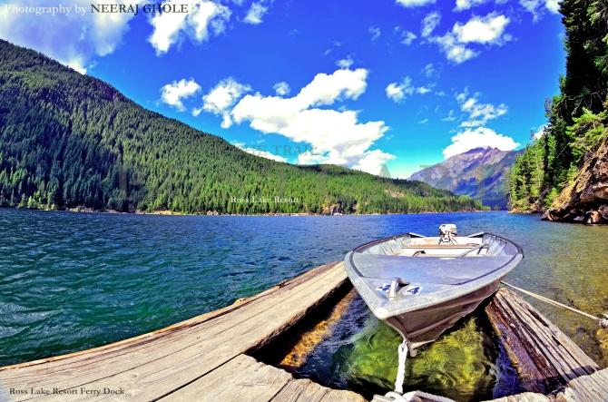 ross lake resort ferry launch ross dam hike trail trek washington north cascades national park glacial lake postcard
