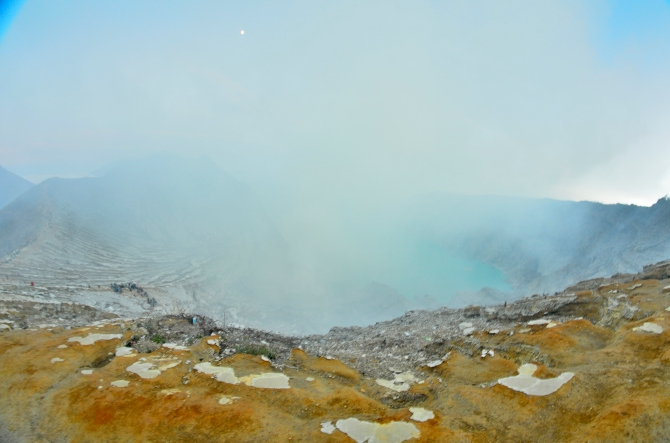 Kawa Ijen Volcano Indonesia Sulphur Blue Flame Crater Lake